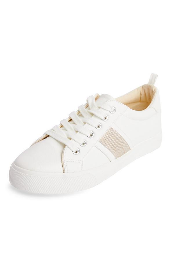 Weiße Low-Top-Sneaker mit Seitenstreifen