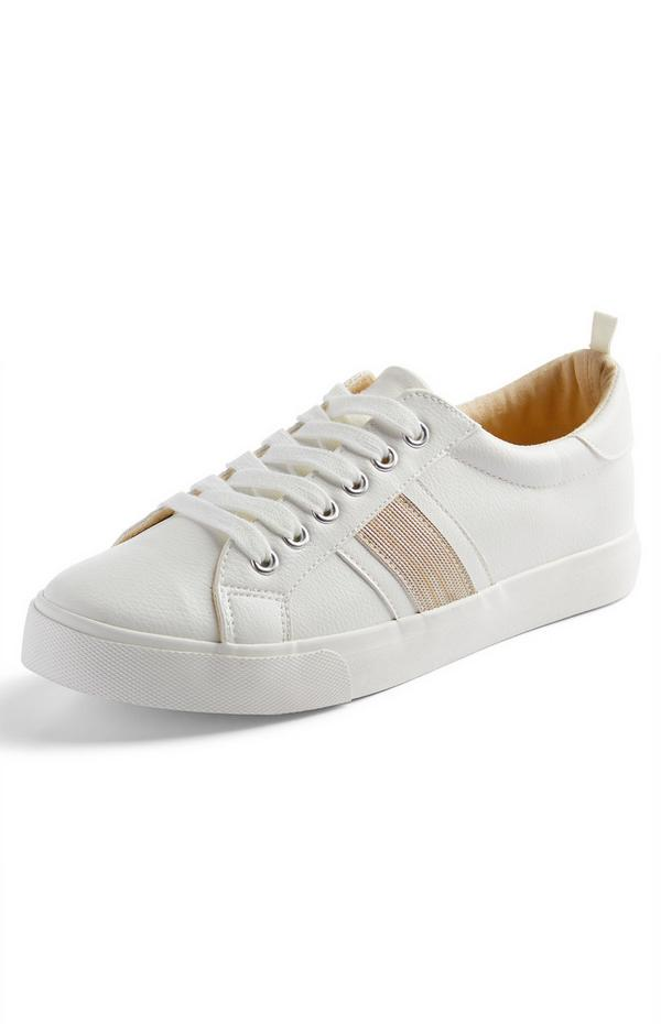 White Side Stripe Low Top Trainers