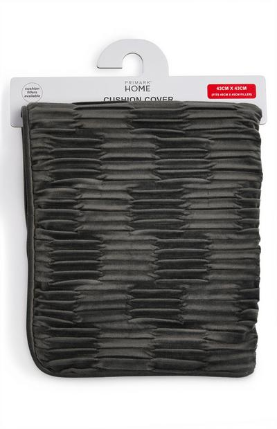 Charcoal Grey Pleated Velvet Cushion Cover