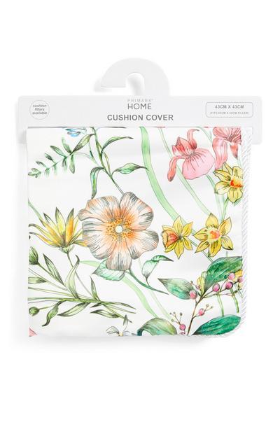 Funda de cojín blanca de satén con flores