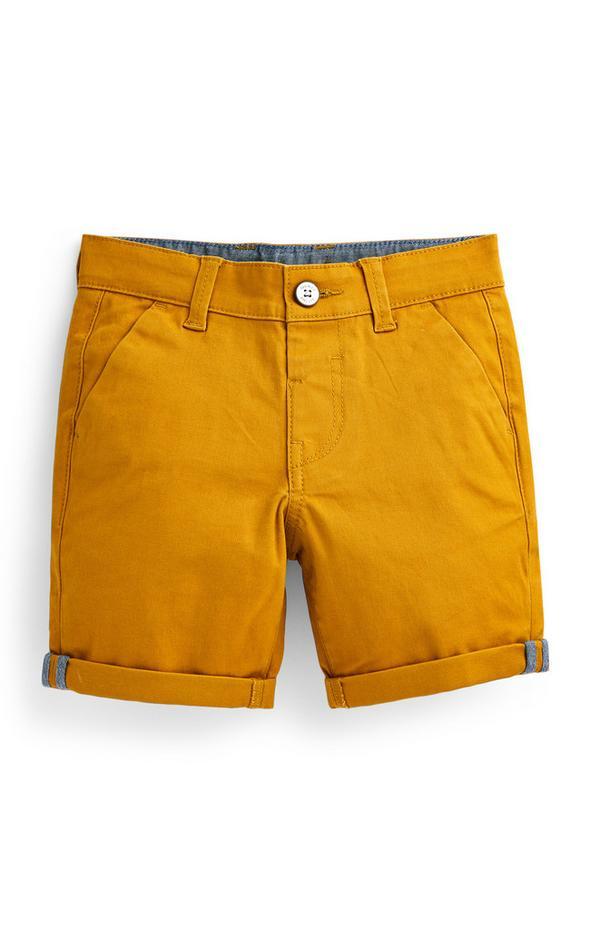 Pantalón chino corto amarillo para niño pequeño