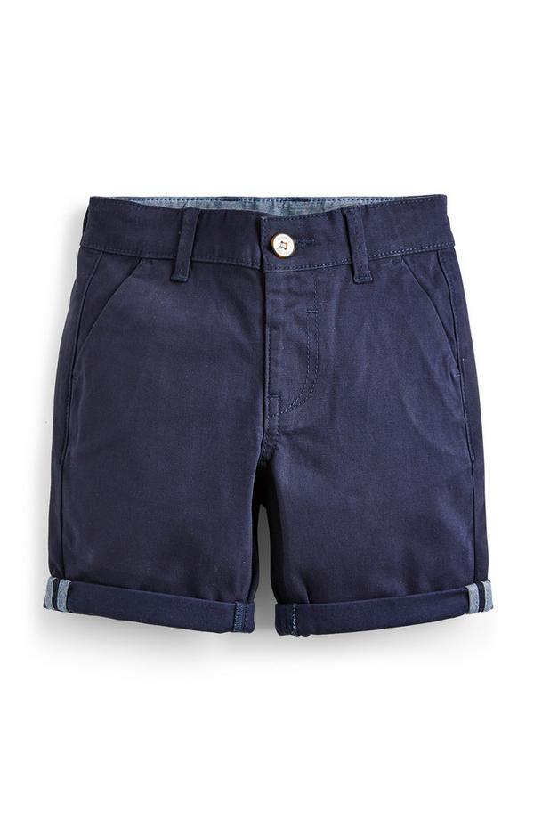 Donkerblauwe chinoshort voor jongere jongens