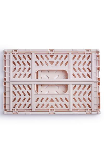 Beige Mini Collapsible Plastic Crate