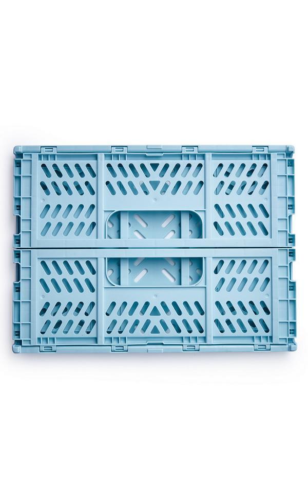 Blauwe middelgrote inklapbare plastic krat