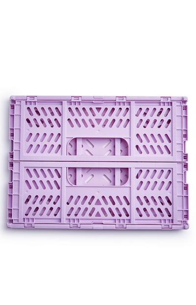 Lilac Medium Collapsible Plastic Crate