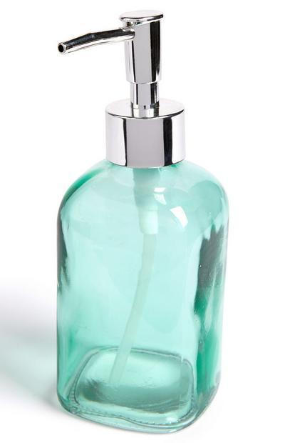 Blaugrüner Seifenspender aus Glas
