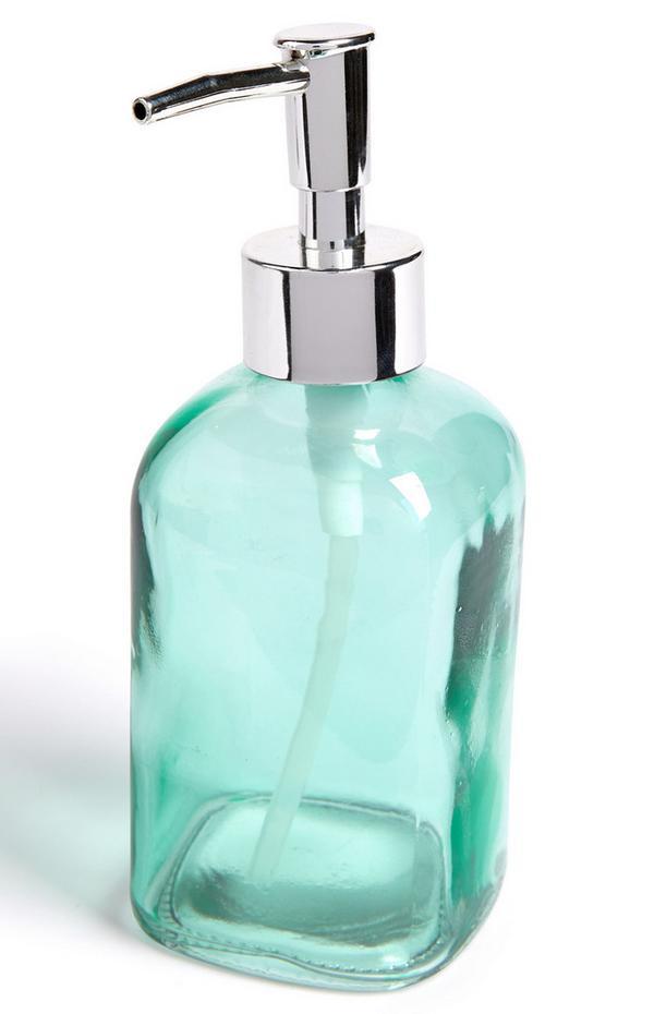 Flacon distributeur de savon bleu sarcelle en verre