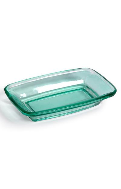 Teal Glass Soap Dish