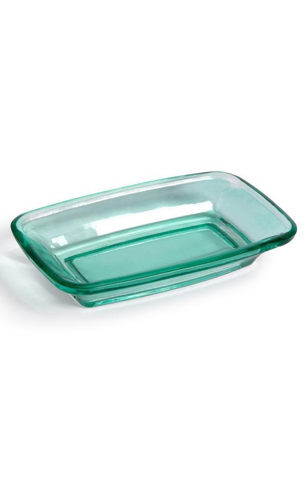 Porte-savon bleu sarcelle en verre
