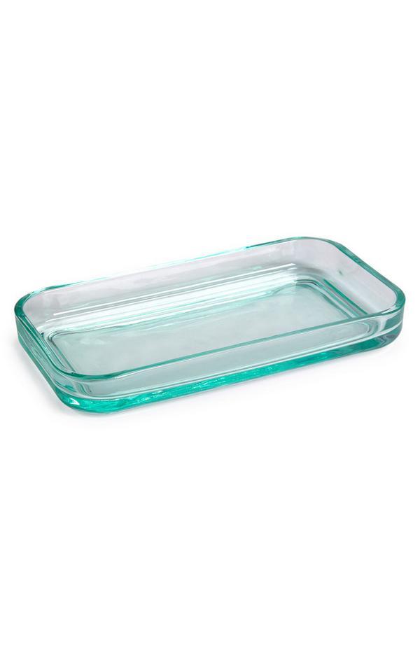 Teal Glass Bathroom Tray
