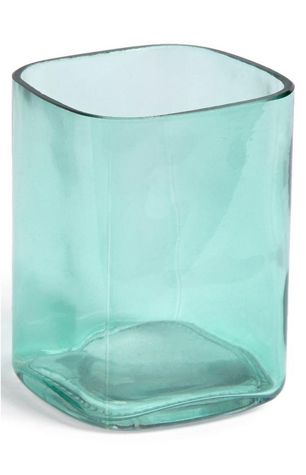 Gobelet bleu sarcelle carré en verre