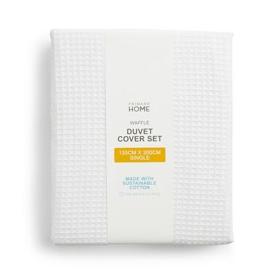White Waffle Single Duvet Cover Set