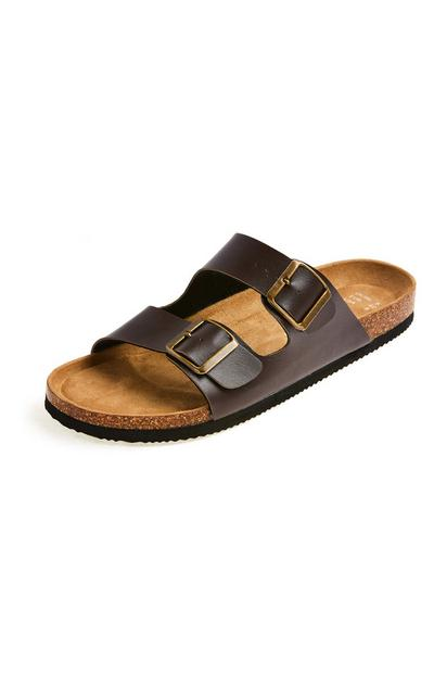 Brown Faux Leather Strap Cork Footbed Sandals