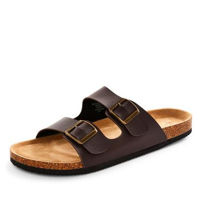 Brown Faux Leather Two Strap Cork Footbed Sandals