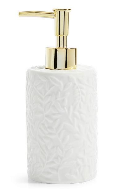 White Embossed Soap Dispenser