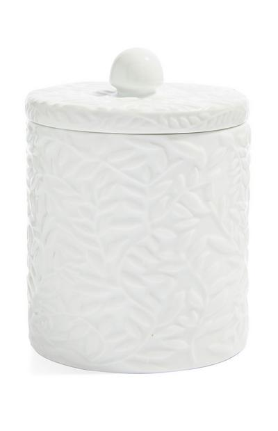 White Embossed Cotton Wool Holder
