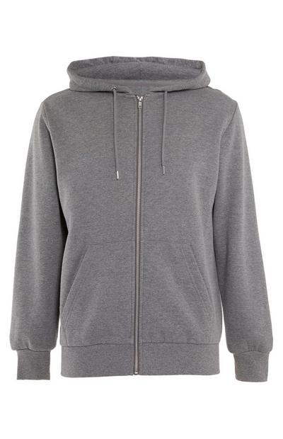 Grijze basic hoodie met rits