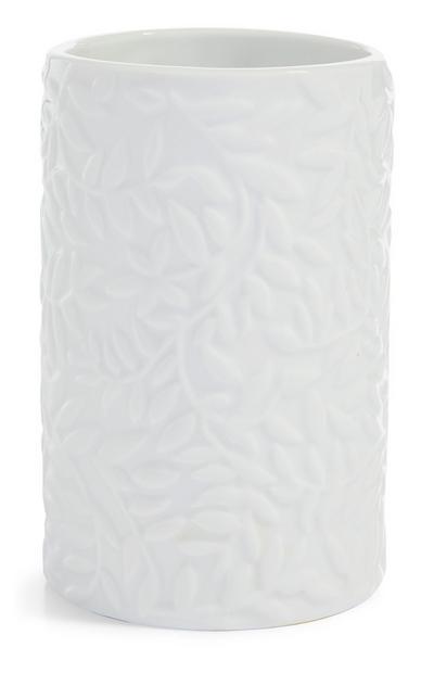 Vaso portacepillos blanco con relieve