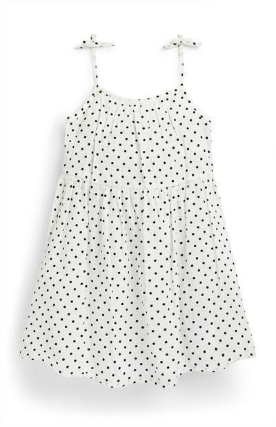 Witte jurk van kringelstof met stippen voor meisjes