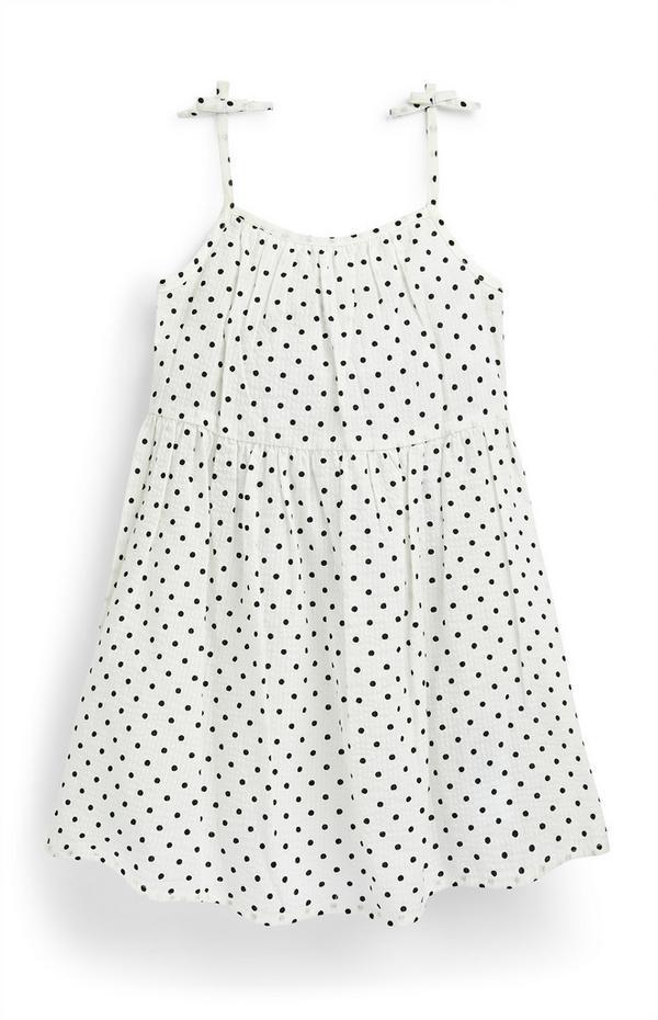 Younger Girl White Polka Dot Seersucker Dress