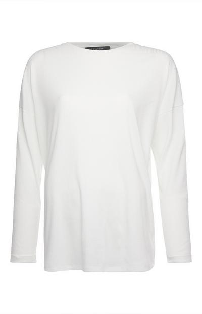 White Drop Shoulder Long Sleeve Top