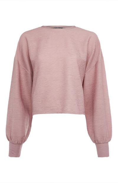 Rožnata teksturirana majica z dolgimi netopirjastimi rokavi