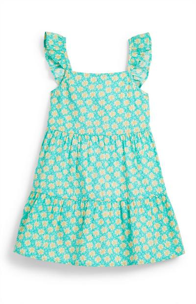 Younger Girl Green Floral Tiered Dress