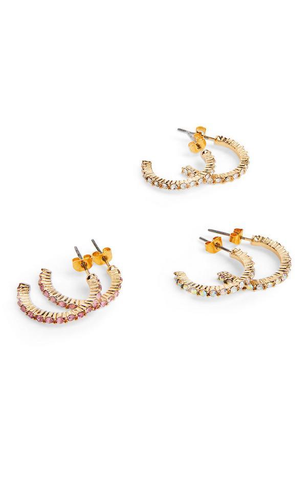 Goudkleurige mini-oorringen met pastelkleurige stras, set van 3