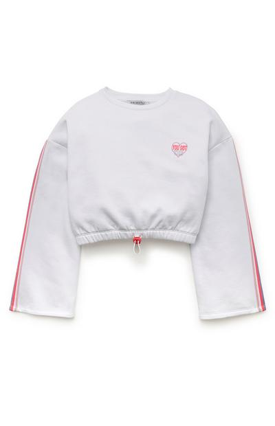 Older Girl White Bell Sleeve Crew Neck Cropped Top