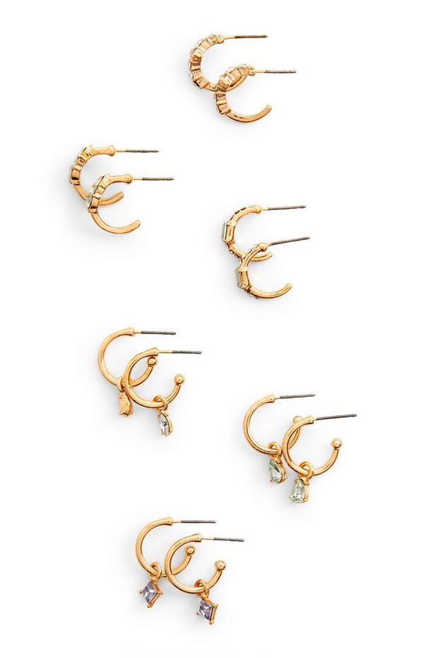 Pack 6 pares brincos pequenos pendentes brilhantes dourado
