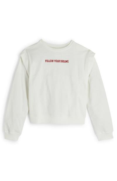 Older Girl Follow Your Dreams White Crew Neck Sweater