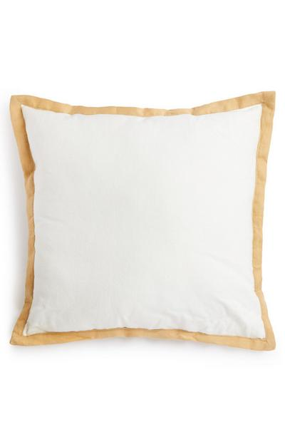 White And Gold Border Linen Cushion