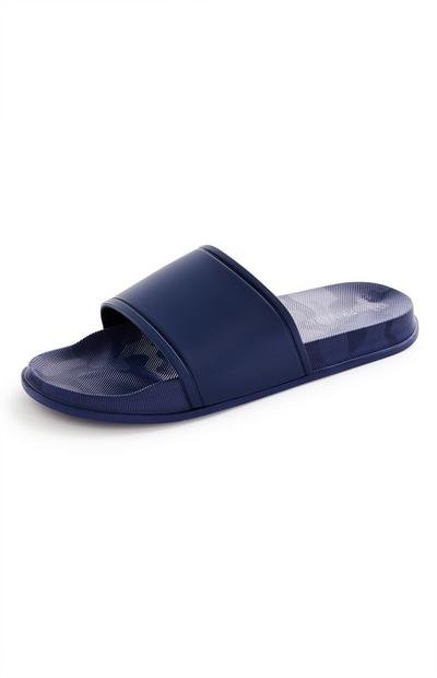 Navy Plain One Strap Sliders