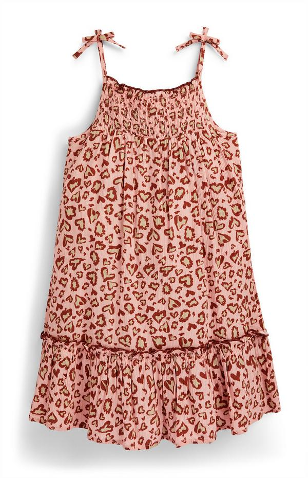 Younger Girl Pink Animal Print Camisole Smock