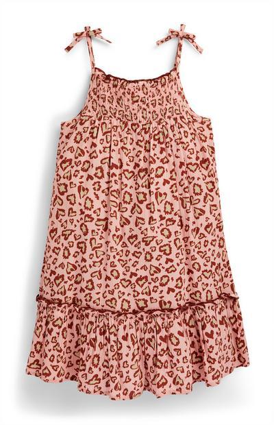 Roze hemdje met dierenprint en smokwerk voor meisjes