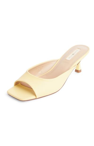 Lemon Yellow Faux PU Leather Square Toe Mules