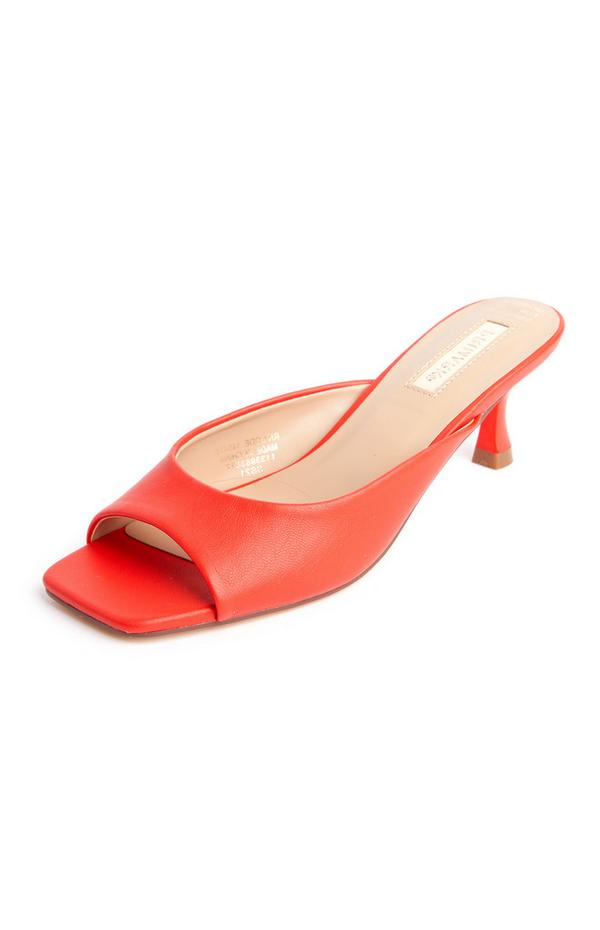 Red Faux PU Leather Square Toe Mules
