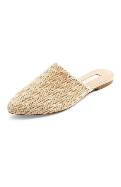 Beige Pointed Woven Raffia Mules