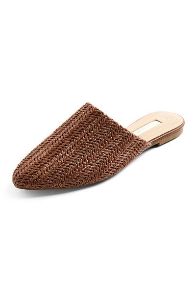 Brown Pointed Woven Raffia Mules
