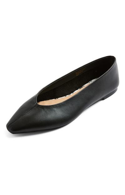 Black Faux Leather High Vamp Flat Ballerinas