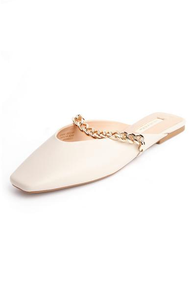 Cream Square Pointed Toe Chain Mules