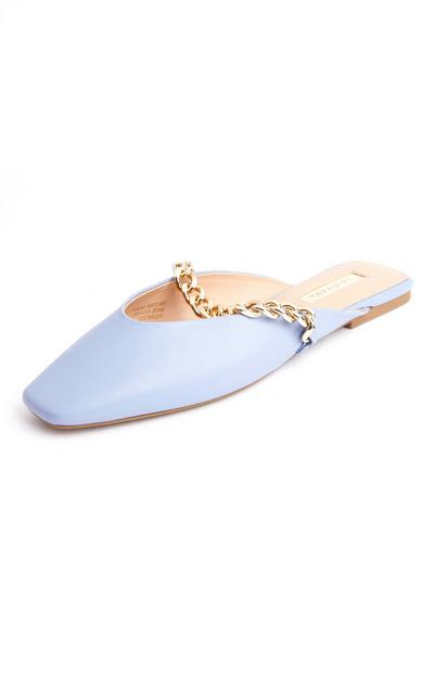 Lilac Square Pointed Toe Chain Mules