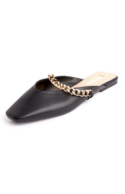 Black Square Pointed Toe Chain Mules