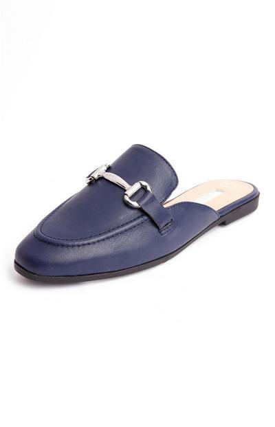 Mules estilo mocassin formais azul-marinho