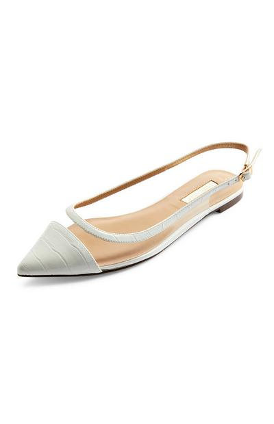 Ivory Clear Perspex Flat Ballerina Shoes