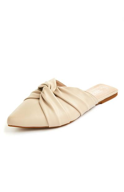 Cream Soft Knot Pointed Toe Flat Mules