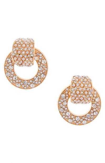 Diamond and Pearl Ornate Knocker Earrings