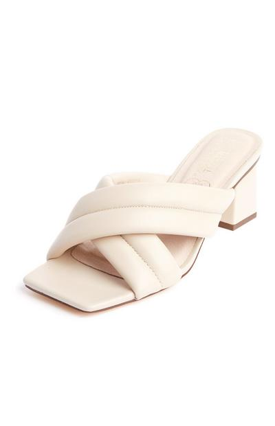 Ecru Puff Cross Strap Square Toe Mules