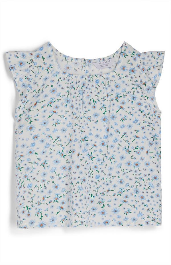 Blusa con estampado floral para niña pequeña