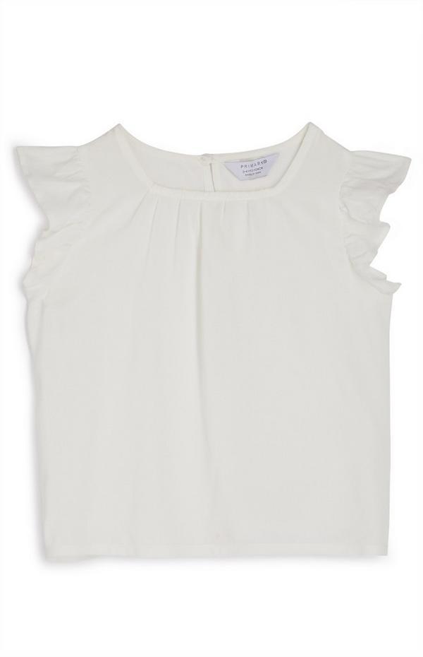 Bela bluza z valovitimi rokavi za mlajša dekleta